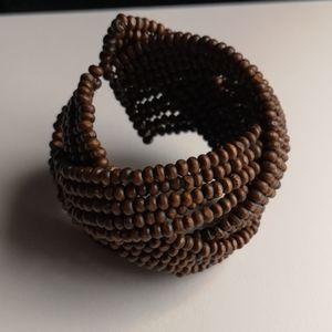 Wooden Bead Cuff Bracelet